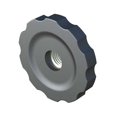 Female handwheel with open screw hole