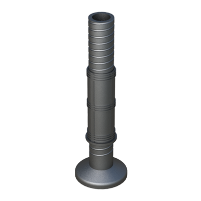 Adjustable foot for round tubes