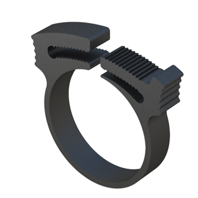 Our double grip hose clamp features a double tooth interlocking jaw for exceptional strength. The hose clamps are easy and quick to install. An overlapping tapered ring is fastened around the hose or tubing and secured to the required tightness by compressing the double griping interacting grooves in a ratcheting fashion, creating a tight sealing application. Clamps have good chemical resistance and are tough, corrosion resistant and resilient. Clamps can be removed by separating the clamping halves in perpendicular direction at the seal. Clamps can be used in the following fields of application: electrical, electronic, R.V., boating and automotive.