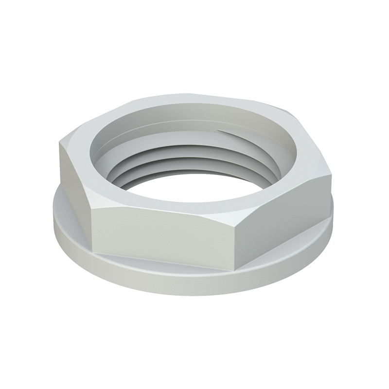 Hexagonal lock nut with flange